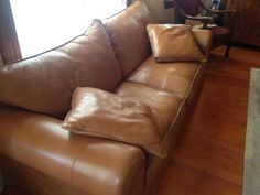 Cognac leather sofa...So rich...And ours...:)