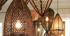 Tucker Robbins Transforms Indonesian Fishing Baskets into Beautiful Pendant Lamps. Tucker Robbins Transforms Indonesian Fishing Baskets into Beautiful Pendant Lamps Indonesian Decor, Balinese Decor, Hanging Lamp Design, Bali Style Home, Rattan Lamp, Rattan Basket, Rattan Furniture, Outdoor Furniture, Basket Lighting