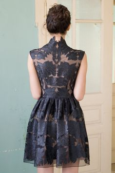 Mini little black lace dress via @nelliUzun