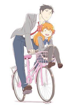 gekkan shoujo nozaki-kun Umetarou Nozaki and Chiyo Sakura Manhwa, Manga Anime, Anime Art, Vocaloid, Monthly Girls' Nozaki Kun, Gekkan Shoujo Nozaki Kun, Kawaii, Cute Anime Couples, Anime Ships