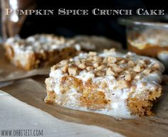 ~Pumpkin Spice Crunch Cake! {Oh, Bite It!} 1-29oz. can of Pumpkin (unsweetened) 1 box of Spice Cake Mix 1-8oz. bag of Toffee Bits 1 container of Cream Cheese Frosting