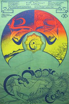 Michael English, poster design for the Middle Earth Club, 1968. London Featuring The Family, The Nice, The Pink Floyd, The Moody Blues, Soft Machine, Fairport Convention, Julie Driscoll and John...