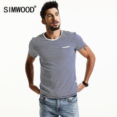 d5398c37ee7b0 SIMWOOD 2018 Spring Summer Short Sleeve T Shirts Men Striped Fashion Tees  Slim Fit Plus Size Breton Top TD1167-in T-Shirts from Men s Clothing    Accessories ...