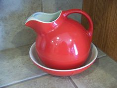 Antique Hall's vintage Pitcher and Matching Bowl - beautiful color!