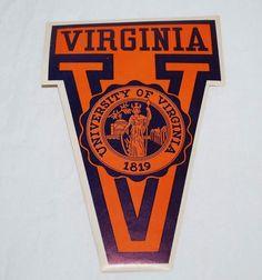 Vintage University of Virginia Decal Luggage Trunk Tag Sticker VA OLD