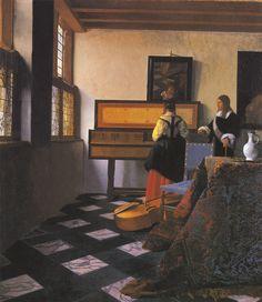 Урок музыки (Женщина за клавесином и кавалер) . Вермер