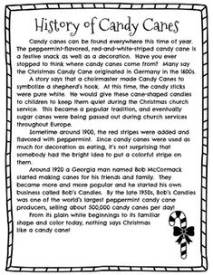 Christmas Reading Passage - History of Candy Canes by Katherine Dellinger Christmas History, Christmas Poems, A Christmas Story, Christmas Candy, Christmas Traditions, Holiday Fun, Christmas Crafts, Festive, Merry Christmas