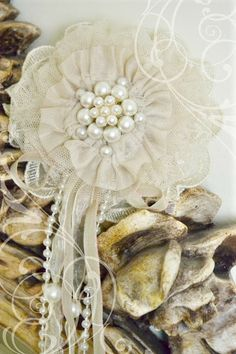 DIY fabric flowers with lace and pearls