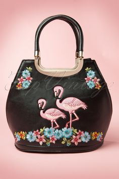 Banned - 50s Pink Flamingo Handbag in Black