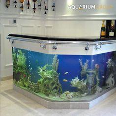 custom angled L-shape bar fish tank unit with stools