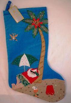 Velvet Tropical Beach Santa Christmas Stocking New | eBay