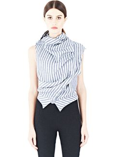Aganovich Striped Draped Shirt