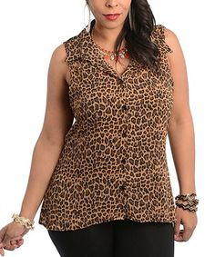 Brown & Black Leopard Button-Up - Plus by Ami Sanzuri #zulily #zulilyfinds
