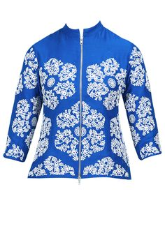 Blue hand embroidered jacket available only at Pernia's Pop-Up Shop.