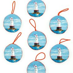 You can either #stitch yourself this #ornamentcanvas or buy the #sakonnet #lighthouse finished #needlepoint #ornament from our website. What's your choice?