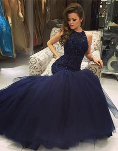 Mermaid Navy Scoop Sleeveless Prom Dress with Beading,