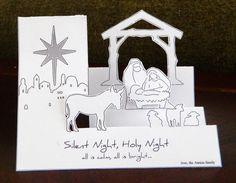 laura's frayed knot: Pop-Up Nativity Christmas Card Christmas Paper Crafts, Christmas Cards To Make, Xmas Cards, Handmade Christmas, Holiday Cards, Christian Christmas Cards, Religious Christmas Cards, Pop Up Karten, Karten Diy