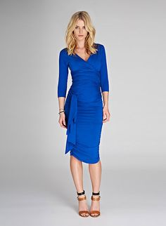 Blue Maternity Wrap Dress - we love this flattering style from @Isabella Oliver Maternity! #maternity #style