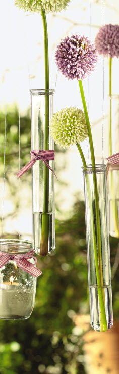Da stimmt die Chemie! Kleiner Tipp: Reagenzgläser sehen richtig gut aus- zum Beispiel, wenn Du sie als kleine Vase mit Wickeldraht an Wände, Decke oder Fenster hängst.