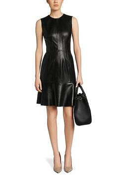 Dress in leather: 'Syssy' , Black