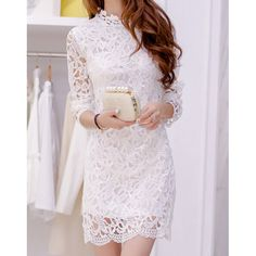 Lace Crochet Flower Sweet Style Round Collar Long Sleeve Women's Dress