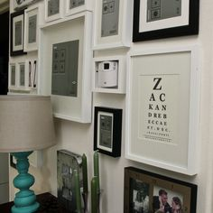 Love the frame around the thermostat! DIY eye chart art - There's a website called Eye Chart Maker {aptly named, right?} where you can input the words you choose and it will put them into eye chart format. Diy Decor, Gallery Wall, Hide Thermostat, Inspiration, Frame, Wall Decor, Wall, Frames On Wall, Thermostat Frame
