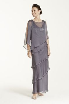 David's Bridal Multi Tiered Long Caplet Chiffon Dress   #DavidsBridal #MotheroftheBrideDresses