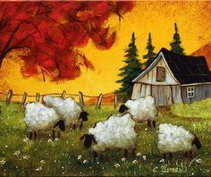 Christine Genest, Les X 14 Sheep Paintings, Primitive Painting, Sheep Art, Acrylic Artwork, Naive Art, Painting Inspiration, Art Pictures, Folk Art, Watercolor Paintings