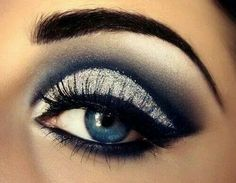 Midnight Blue, Silver & White Shadow..