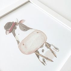 Good MOO-ning! Hope your 1st Saturday in 2016 is well spent. | personalized Friendly Creature artprint |  #drawing#draw##art_we_inspire#arts_help#worldofartists#handpainted#watercolor#winsornewton#watercolour#illustration#watercolorillustration#whiteaddict#whitecultural#bigbearandbird#cute#happy#instagram#artoftheday#diy#nursery#artoftheday#craftsposure