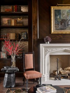 Shop Chairish, the design lover's curated marketplace for the best in vintage and contemporary furniture, decor and art. Tasting Room, Fireplace Design, Luxury Living, Portfolio Design, Contemporary Furniture, Interior And Exterior, Tudor Architecture, Home Goods, Dining Chairs