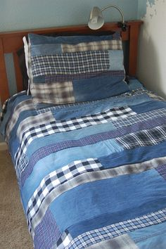 Flannel and denim quilt: re-purpose old jeans & flannel shirts!
