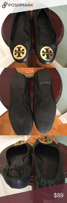 Tory Burch  authentic Reva flats Authentic Tory Burch Reva flats  in size 8.5  minor scuff on rear heel see photo these are well loved but great condition  only reason I'm selling is having bunion problems need a large size   My loss your gain Tory Burch Shoes Flats & Loafers