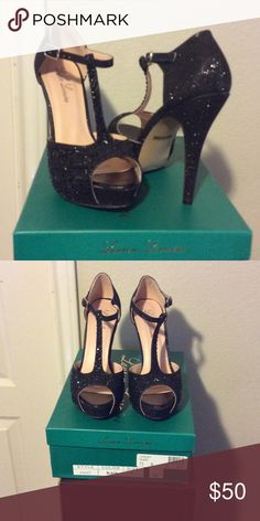 Selling this Like NIB Black platform Tstrap heel w/jewel detail in my Poshmark closet! My username is: monicat7. #shopmycloset #poshmark #fashion #shopping #style #forsale #Lauren Lorraine #Shoes