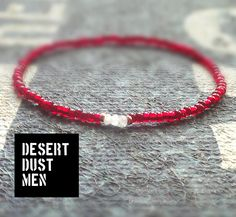 Moonstone mens bracelet with red silverlined seed bead by DESERTDUSTMEN on Etsy