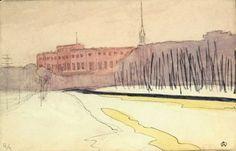 Остроумова-Лебедева Анна Петровна (1871 – 1955) «Инженерный замок»,I четверть ХХ в.  бумага, акварель, тушь; 10,5х16;  правый нижний угол