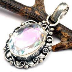 Rainbow Topaz  pendant  focal bead  supply   by CoyoteRainbow, $12.00