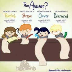 Hufflepuff, Gryffindor, Ravenclaw, Slytherin haha all true