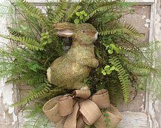 Spring Wreath Bunny Wreath Front Door Wreath by AdorabellaWreaths