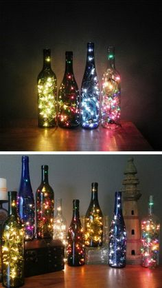 Table Centerpiece Made with Wine Bottles and String Lights.