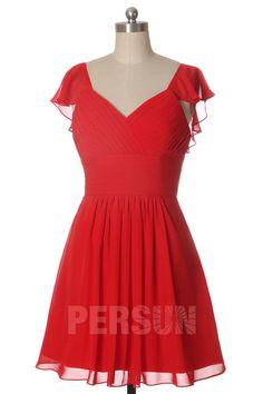 Robe de cocktail chic courte rouge drapé avec mancherons à volant