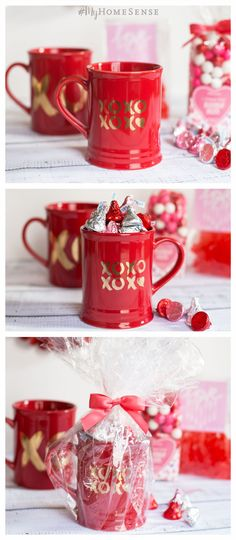 Sweet and simple Valentine's Day gift, perfect for that sweet someone in your life! Simply fill a #MyHomeSense mug with tasty treats and finish with cellophane and a bow. A quick and easy gift, perfect for a teacher, co-worker or your BFF. Find a HomeSense near you for even more goodies to celebrate Valentine's Day!