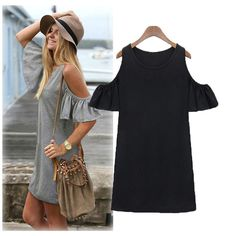 Women Summer Boho Dress Off Shoulder Butterfly Sleeve Mini Dress Shirt Dress #Unbranded #ShirtDress #CasualClubwear