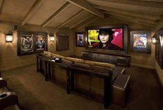"""Contemporary Media Room - contemporary - media room - Los Angeles, Bliss Home Theaters & Automation, room is 17' wide by 22' deep, projected image 123"""" diagonal, Fortress Seating"""
