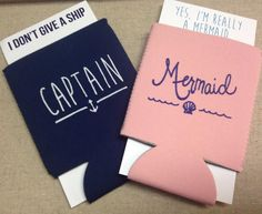 These nautical Captain and Mermaid coozies are favorites in our collections.