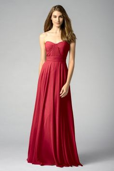 Watters 7549 Bridesmaid Dress in Burgundy in Chiffon