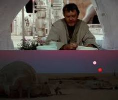 star wars landscapes and sunsets - with Uncle Owen saying Ben Kenobi is just a crazy old wizard!