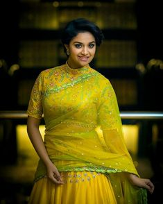 Keerthy Suresh in Divya Reddy Yellow Lehenga at Remo Audio Launch Beautiful Girl Photo, Beautiful Girl Indian, Most Beautiful Indian Actress, Beautiful Saree, Simply Beautiful, Half Saree Designs, Blouse Designs, Blouse Patterns, Moda Indiana