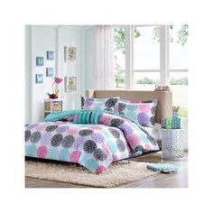 Mi Zone Carly Comforter Set ($51) ❤ liked on Polyvore featuring home, bed & bath, bedding, comforters, purple, cars bedding, purple comforter, dot comforter, stripe bedding and polka dot comforter set