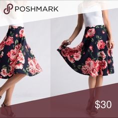 Floral Skirt Floral print flare skirt polyester and spandex Fashionomics Skirts Midi